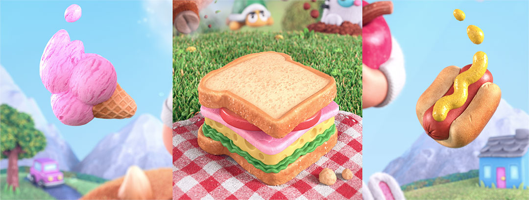 Ice cream, sandwich and hotdog game objects